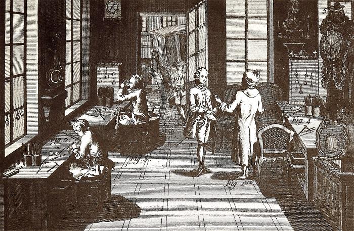 Imagen: Taller de relojería. Fuente: grabado de Bernard en L' Encyclopédie (1783: pl. 1).