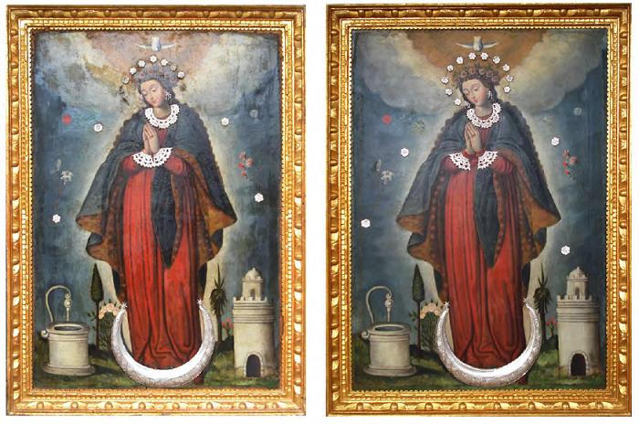 Imagen: Aspecto de la obra antes y después de la intervención en 2007. Anverso. Foto: Gilberto Buitrago Sandoval – Unión temporal V & B restauradores.