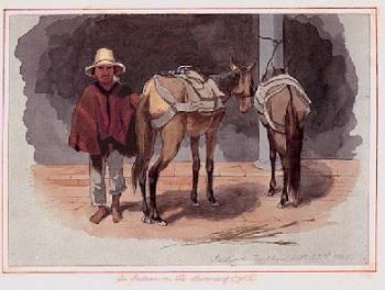 """Indio de Fontibón en 1845. Acuarela de E. W. Mark, colección de arte del Banco de la República, Biblioteca Luis Ángel Arango. 16,9 x 25 cm. En el borde inferior derecho está anotado a lápiz: """"Indio de Fontibon, Oct. 22nd. 1845"""", y en el cartón de soporte,"""