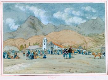 Ubaque en 1846, Acuarela sobre papel de Edward Walhouse (1817-1895), colección de arte del Banco de la República, Biblioteca Luis Ángel Arango